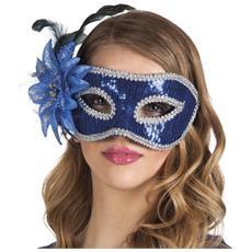 Maschera Veneziana Con Fiore Blu Taglia Unica