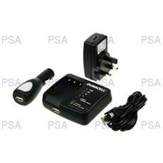 Camera Battery Charger with USB Charger, Auto, Interno, Esterno, Fotocamera, AC, Accendisigari, USB, Nero, 230V, 5V