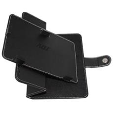 Custodia universale per Tablet ADJ BS007R Max 7'' Supra Cover Office Series Ruotabile in Ecopelle Nera