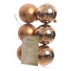 6 Palline Di Natale Marrone Scamosciato 8cm Albero Di Natale Addobbi Decorazioni