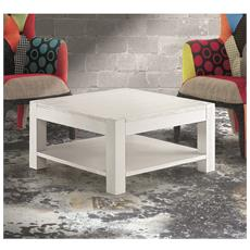 Tavolino Quadrato In Abete Bianco Spazzolato