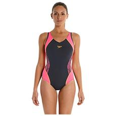 Spl Msbk Af - Costume Da Bagno Da Donna, Colore Grigio Ossido / rosa Fluo / arancio Fluo - Taglia 42 (it)