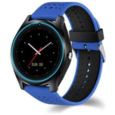 Smartwatch V9 Slot Scheda Sim E Bluetooth Fotocamera Orologio Telefono Pedometro Blu