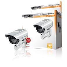 Telecamera CCTV finta con involucro esterno in plastica, dotata di LED IR (finto) .