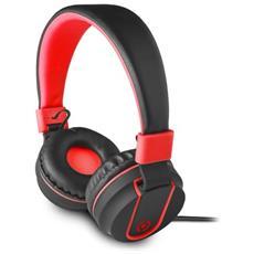 Cuffie con Microfono Connessione Cavo Colore Nero e Rosso