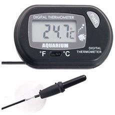 Termometro Lcd Digitale Con Sonda Per Acquario Pesci °c Cambiare °f Nero