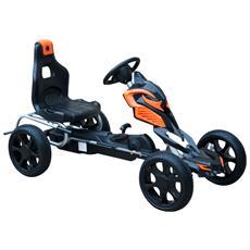 Go-kart A Pedali Per Bambini In Acciaio Con Ruote Gonfiabili, Arancione E Nero