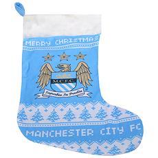 Calza Natalizia Con Stemma Ufficiale Del Manchester City Fc (taglia Unica) (blu / bianco)