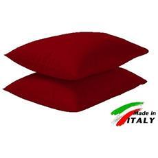 Coppia Di Federe Per Cuscini Cotone Colore Bordeaux Prodotto In Italia