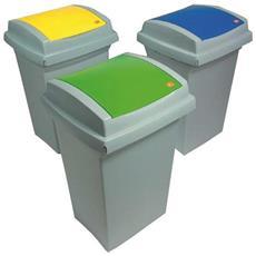 Bidone Per Raccolta Differenziata Recycling Da 50 Lt Colore Blu