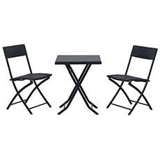 Set mobili da giardino in poly rattan 3pz set tavolo e sedie da giardino nero
