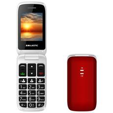 "Sileno 40 Rosso Display 2.4"" +Slot MicroSD conTasti Grandi Tasto SOS Radio e Torcia LED"