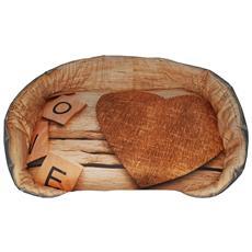 Cuccia / Panchetta Per Animali Con Sfondo Marroncino Un Cuore E La Scritta Love, Un Singolo Pezzo (62x42x13)