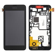 Ricambio Lcd Schermo Display + Touch Screen Unit Digitizer + Frame Nero Originale Nokia Per Lumia 530 + Kit Attrezzi Smontaggio