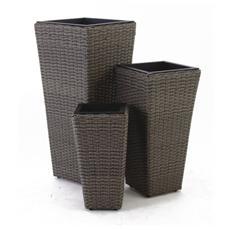PAPILLON - Set 3 vasi in polyrattan mod. Areca colore Melange Grigio