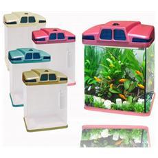 Acquario In Plastica Rigida 6 Litri 19 X 15 X 27 Cm Luci Led 4w Con Filtro Vari Colori Risparmio Energetico - Celeste