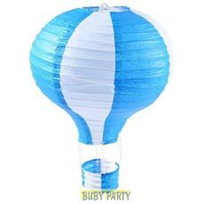Lanterna Mongolfiera Bianca E Azzurra