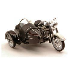 Harley Davidson Flh Duo Glide 1948 Classic Sidecar 1:18 Hd Custom Modello Da Collezione