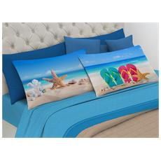 Completo Lenzuola In 100% Cotone Linea Digitale Spin-off Disegno Spiaggia