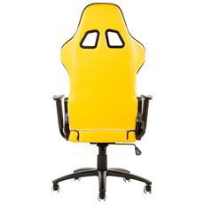 Gaming Chair Taurus P2 - Pelle Sintetica Pu, Doppio Cuscino, Nero Giallo