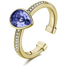 Anello In Argento Tring Con Galvanica Oro, Pave' Di Zirconi Bianchi E Cristallo Swarovski® Provence Lavender