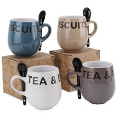 Tea And Biscuits Tazza Con Cucchiaino 1 Pezzo (10 X 13 X 8,5 Cm) (multicolore)