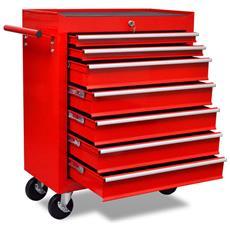 Carrello Portautensili Con 7 Cassetti Rosso Per Garage