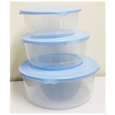 Set 3 Pezzi Contenitore Fresh Tondo Scodella 6l 10.5l 17l Tappo Per Microonde Freezer Lavastoviglie Colore Casuale