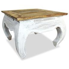 Tavolino Laterale In Legno Massello Di Recupero 50x50x35 Cm