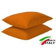 Coppia Di Federe Per Cuscini Cotone Colore Arancio Prodotto In Italia