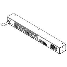 PXE-1190R, Metered, Monitored, 1U, Nero, 220V, 50/60 Hz, 16A