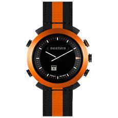 Smartwatch Classic in Nylon Impermeabile Bluetooth compatibile con Android e iOS - Nero / Arancio