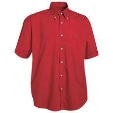 Camicia A Manica Corta Con Taschino In Cotone Colore Rosso Taglia S