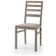 Set 2 sedie meggie 1 gambe rovere seppia seduta tessuto seppia