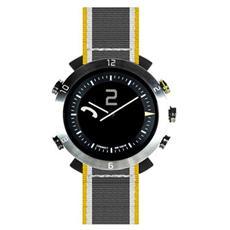 Smartwatch Classic in Nylon Impermeabile Bluetooth compatibile con Android e iOS - Grigio / Giallo