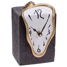 Orologio da tavolo ''Orologio figueras'' in resina decorata a mano Meccanismo al quarzo tedesco UTS Dimensione cm 15x10x9 Colore oro e bianco
