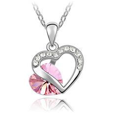 Ciondolo Cuore Rosa Cristallo Swarovski Element - Cry B236 W Rose