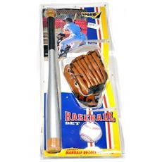 Set Da Baseball Completo Di Guanto, Palla In Microfibra, Mazza In Legno Lunga 60 Cm - 500713