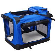 Trasportino per cani e gattiborsa per trasporto animali 81x59x59 cm blu
