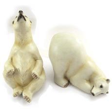 set di 2 statuette 'famille ours polaire' beige - [ k0590]