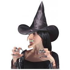 Halloween Set Strega - Cappello, Naso, Unghie, Mento, Denti