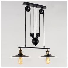 Lampadario A Sospensione Con Carrucola, 2 Lampadine E Paralumi Finitura Nera Stile Retro Vintage Industrial