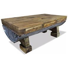 Tavolino Da Caffè In Legno Massello Recuperato 90x50x35 Cm