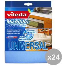 Set 24 Panno Universal Plus Microfibra Attrezzi Pulizie