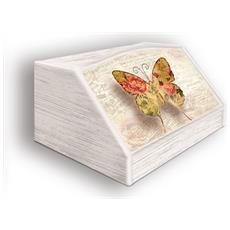Portapane Con Decoro In 'farfalla Shabby' In Legno Shabby Dalle Dimensioni Di 30x40x20 Cm