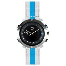 Smartwatch Classic in Nylon Impermeabile Bluetooth per Android e iOS Bianco / Blu - Italia