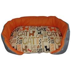 Cuccia / Panchetta Per Animali Con Sfondo Arancione E Tanti Gatti Stilizzati, Un Singolo Pezzo (46x36x10)