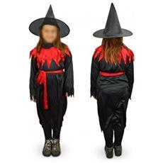 368745 Costume Di Carnevale Travestimento Strega Da Bambina Da 3 A 12 Anni - 6/8 Anni