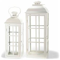 Set Due Lanterne Porta Candela Bianche