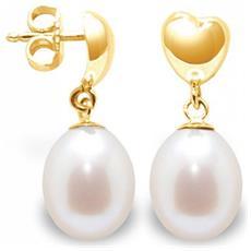 Orecchini Cuore Di Perle Coltivate Bianche E Oro Giallo 375/1000 - Bps K306 W